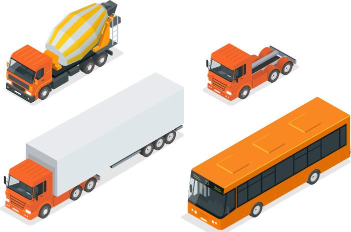 tehergépjárművek, kamionok, buszok és vontatók